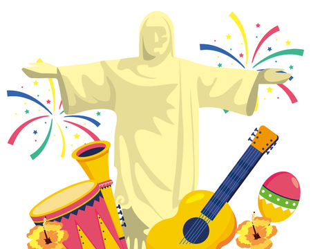 christ redeemer with musical instruments Illustration