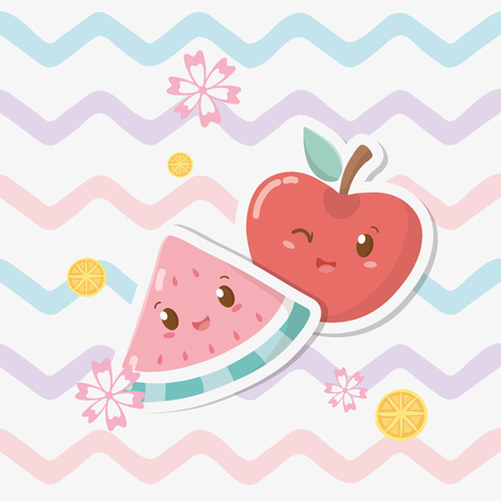 fresh apple and watermelon fruits characters Иллюстрация