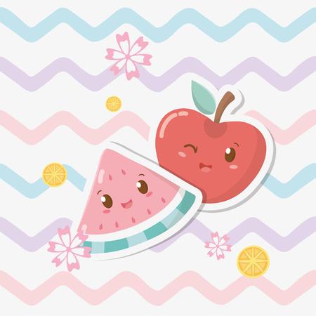 fresh apple and watermelon fruits characters Ilustracja
