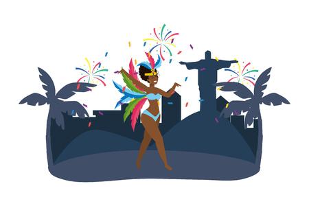 native woman dancing celebrating brazil carnival