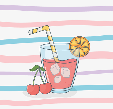 orange juice fruit in pot with straw Illustration