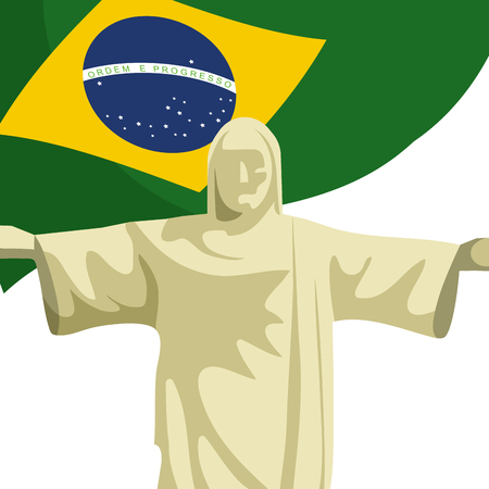 christ redeemer with brazilian flag Illustration