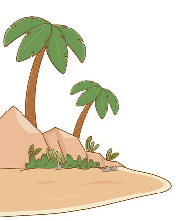landscape desert cartoon Ilustração