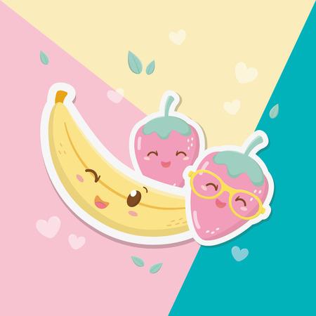 fresh strawberry and banana fruits kawaii characters vector illustration design