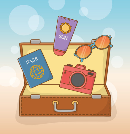 suitcase bag with travel vacations items Иллюстрация