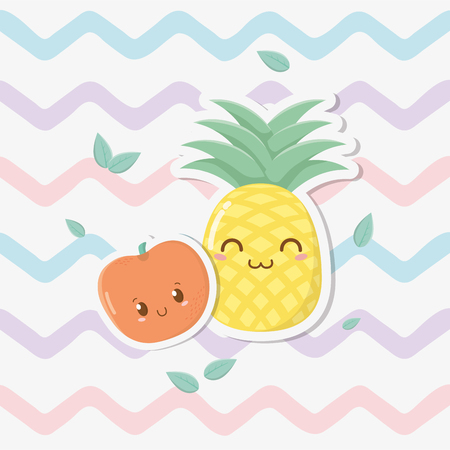 fresh pineapple and apple fruits characters