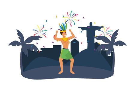 man celebrating brazil carnival Vetores