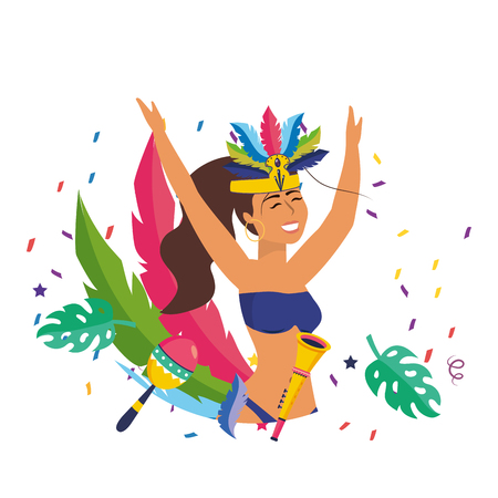 woman celebrating brazil carnival Illustration