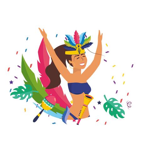 woman celebrating brazil carnival Çizim