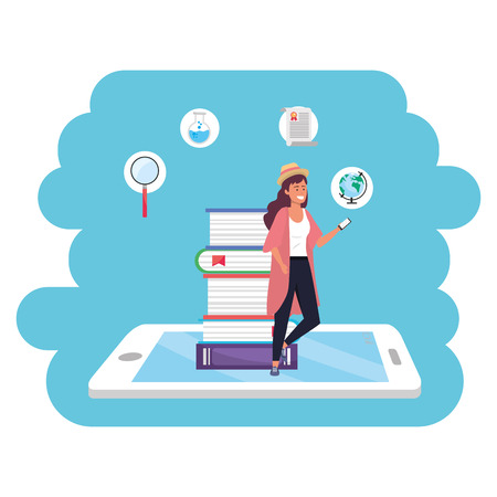 Online education millennial student woman wearing hat and kimono tablet and book stack background young person career search splash frame vector illustration graphic design Иллюстрация