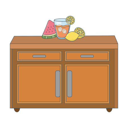 delicious healthy meal juice with fruits mix over wooden table cartoon vector illustration graphic design Illustration