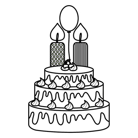 delicious sweet cake with cherries and candles ,balloon helium vector illustration
