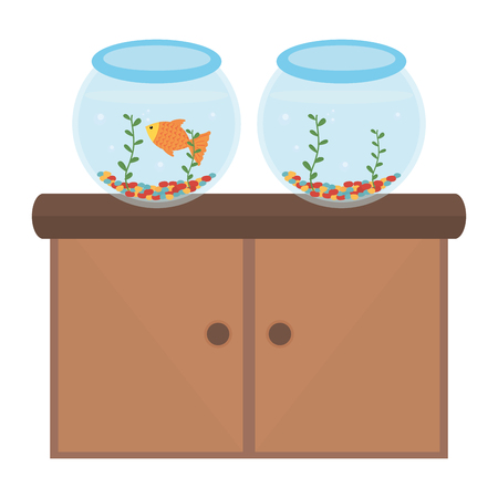 pet shop wooden drawer with aquariums and products vector illustration design