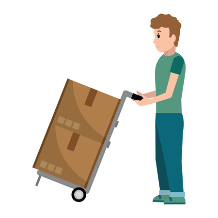 delivery guy with pushcart and boxes vector illustration graphic design