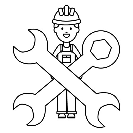 builder worker with helmet and wrench keys vector illustration design Vectores