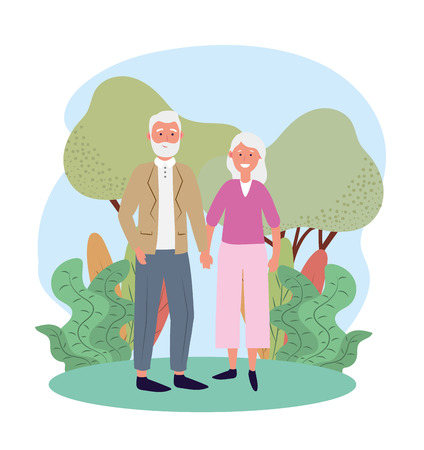 cute old woman and man couple with trees and plants 스톡 콘텐츠 - 122512132