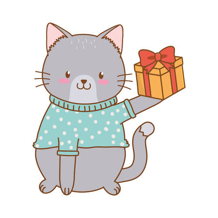 cute little animal cat at birthday party festive scene cartoon vector illustration graphic design