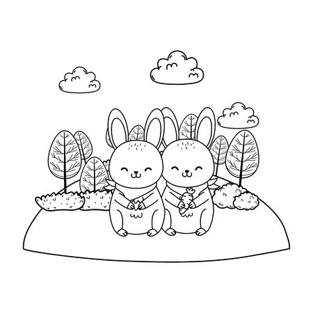 cute rabbits in the field woodland characters vector illustration design Foto de archivo - 122514366