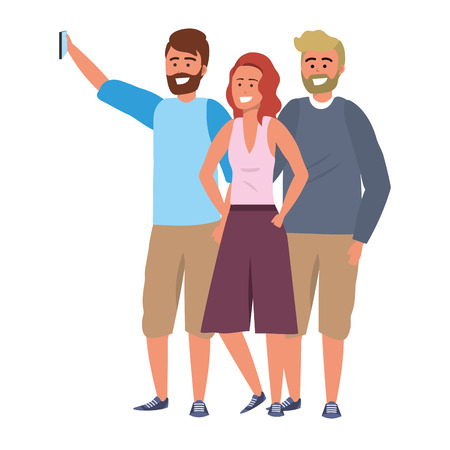 Millenial diverse group taking selfie smiling happy together wearing sweaters bearded blond and redhead bearded vector illustration graphic design