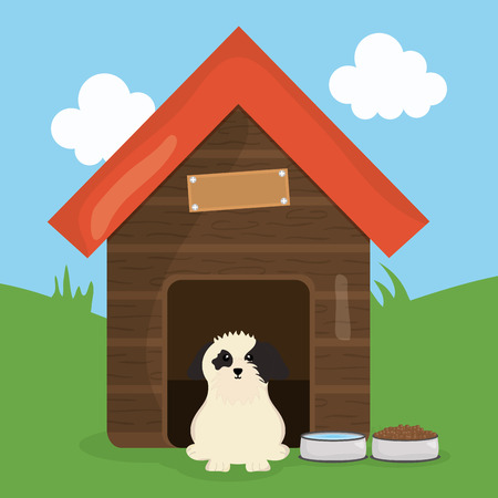 cute little dog in wooden house pet character Ilustrace
