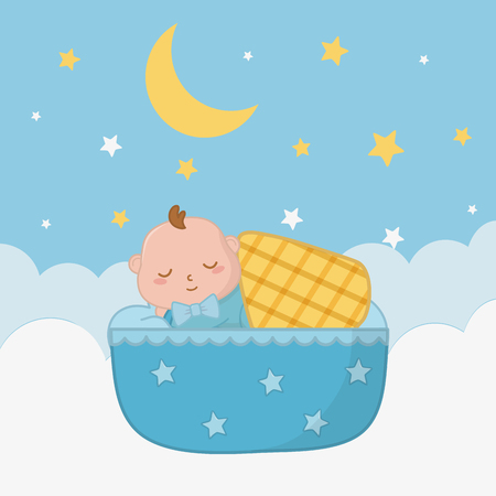 baby sleeping in a cradle with a blanket over a cloud with star and moon vector illustration graphic design