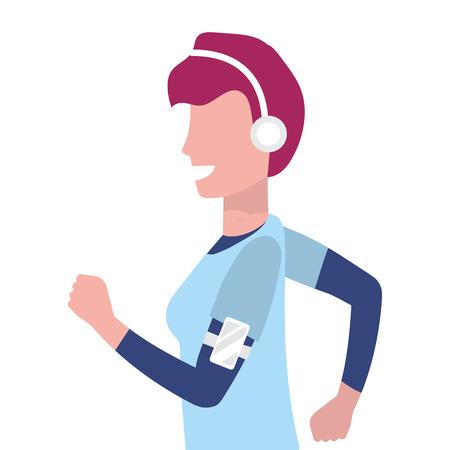 woman running portrait with sportwear avatar cartoon character vector illustration graphic design