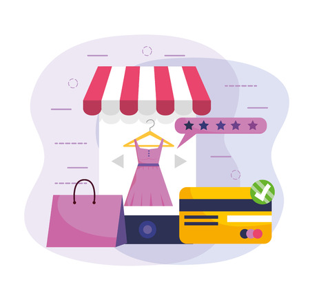 smartphone ecommerce technology with credit card and shopping