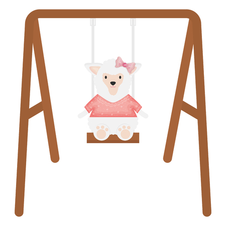 cute female sheep in swing vector illustration design