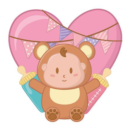 bear costume with heart Vektoros illusztráció