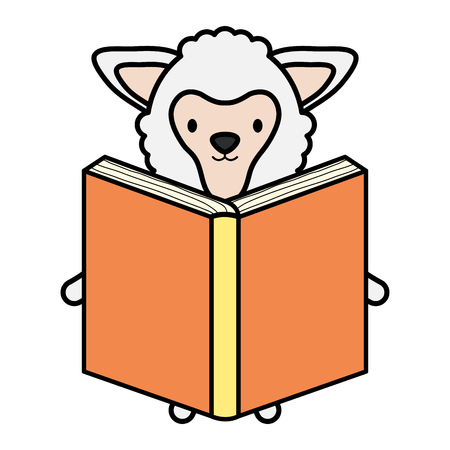 cute sheep reading book childish character vector illustration design