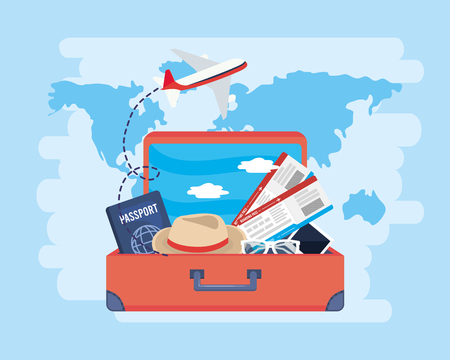 airplane and passport with tickets inside travel baggage vector illustration Illustration