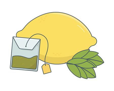 delicious healthy meal grapfruit with tea bag cartoon vector illustration graphic design