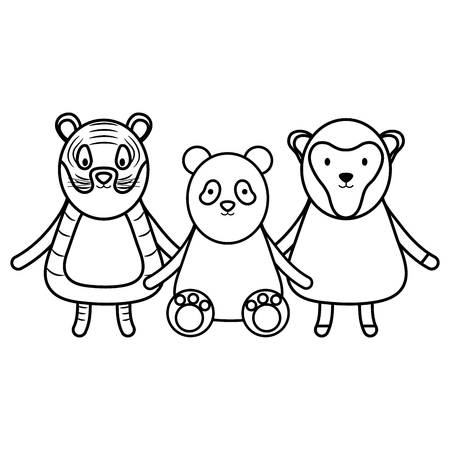 cute group animals childish characters vector illustration design