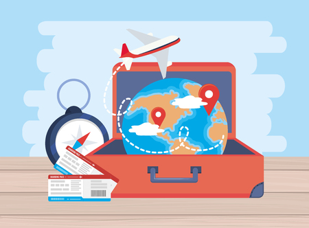 airplane with tickets and global map location inside baggage vector illustration