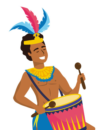 man celebrating brazil carnival with feather headdrees and drum with drumsticks vector illustration graphic design