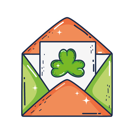 envelope with clover st patrick invitation Ilustrace