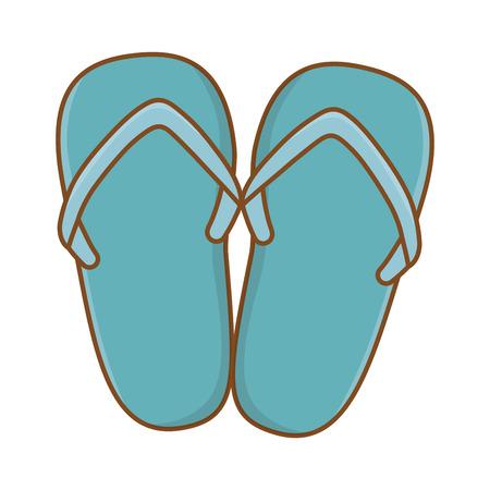 Tourist trip summer travel blue single toe sandals adventure exploration isolated vector illustration graphic design