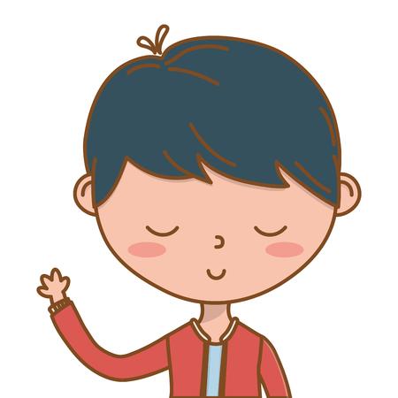 Stylish boy cartoon outfit portrait isolated Illustration