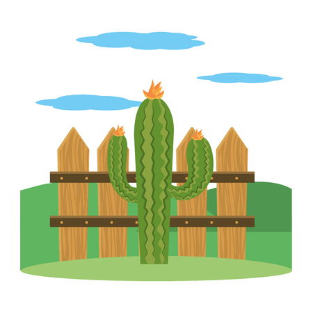 cactus outdoor in front wooden fence cartoon vector illustration graphic design