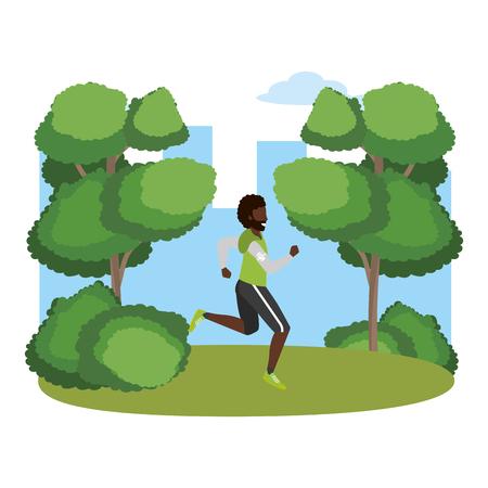 fitness sport train man running outdoor scene cartoon vector illustration graphic design