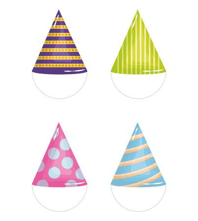 set of party hats celebration vector illustration design