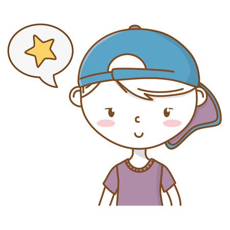 Stylish boy cartoon outfit portrait Ilustração
