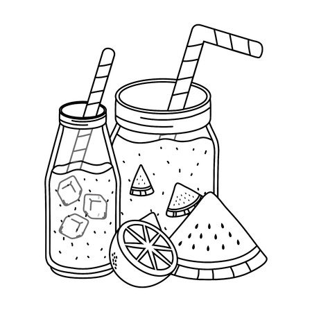 delicious tasty fresh fruits masons jars juices cartoon vector illustration graphic design