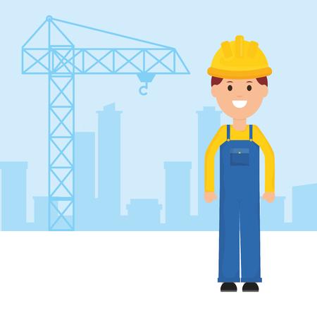 builder worker with helmet vector illustration design Illusztráció
