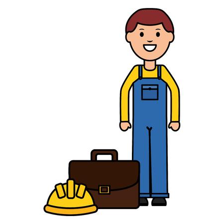 builder worker with helmet and portfolio Illusztráció