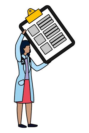 healthcare medical doctor woman holding documents folder cartoon vector illustration graphic design
