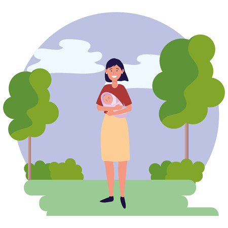 woman carrying baby avatar cartoon character outdoor rural landscape round icon vector illustration graphic design