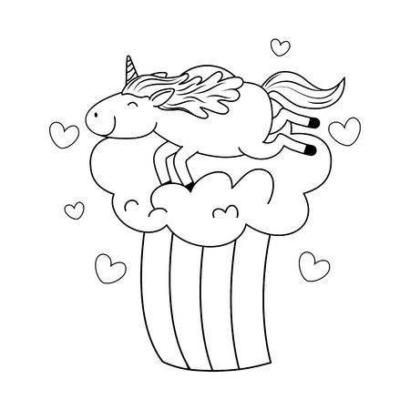 cute fairytale unicorn in clouds with rainbow vector illustration design