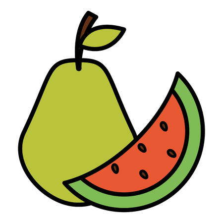 watermelon and pear fresh fruits vector illustration design