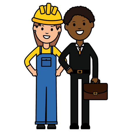 young black businessman with woman builder